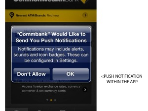 Push notification on the CommBank App