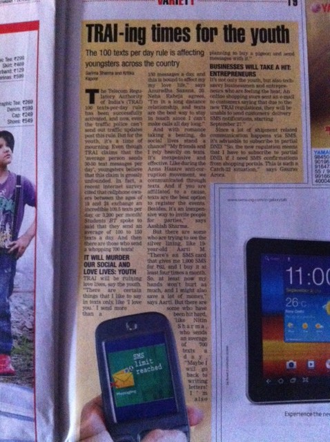 TRAI-ing times article in the Times Of India - 30 Sept 2011